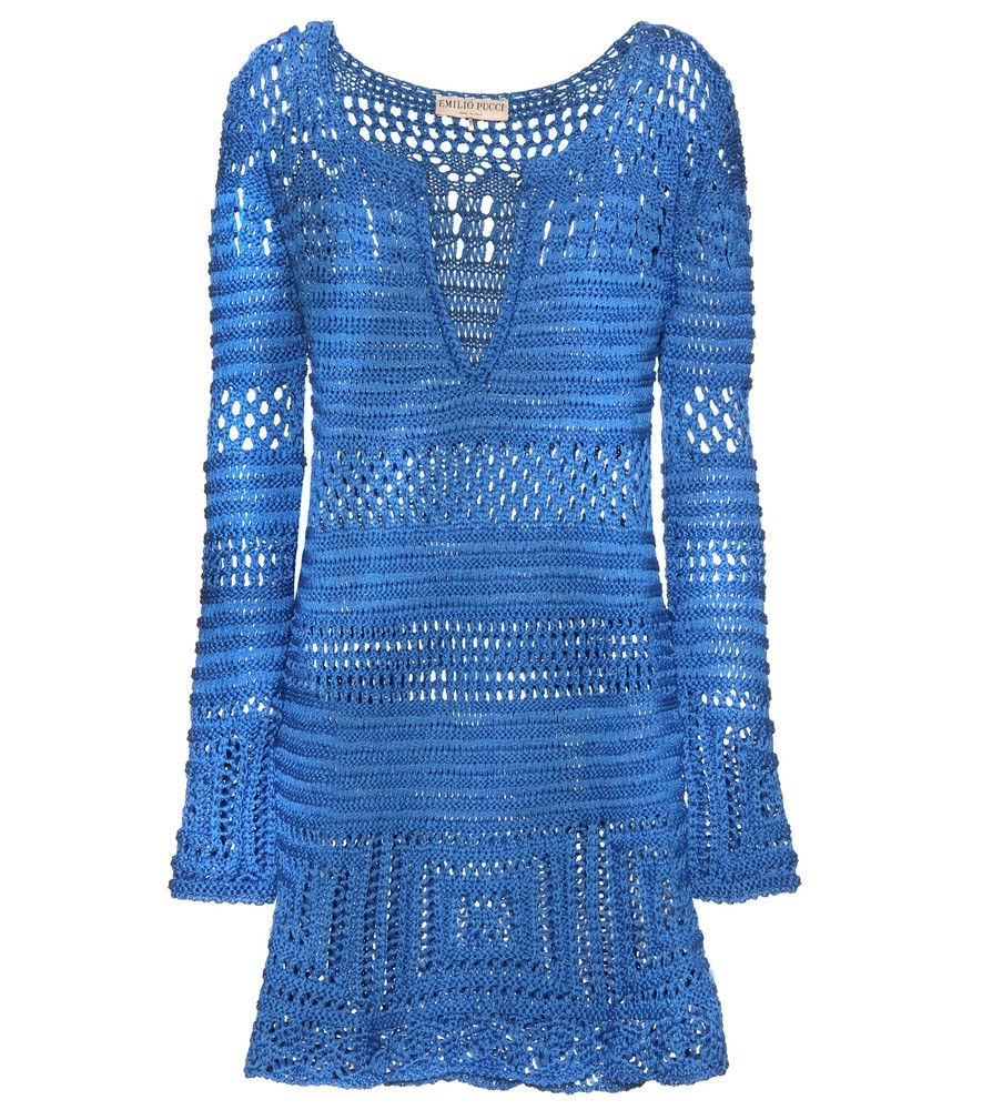 Emilio Pucci Beach - Crochet knit cotton tunic dress - Crochet knits are big this season, and Emilio Pucci Beach crafts a loud and proud tunic dress in bright blue. We love the marine tone, and this summer must-have is an absolute getaway favourite at mytheresa.com HQ. We're pairing ours with a tan-toned lace-up sandal and our favourite bikini underneath. seen @ www.mytheresa.com