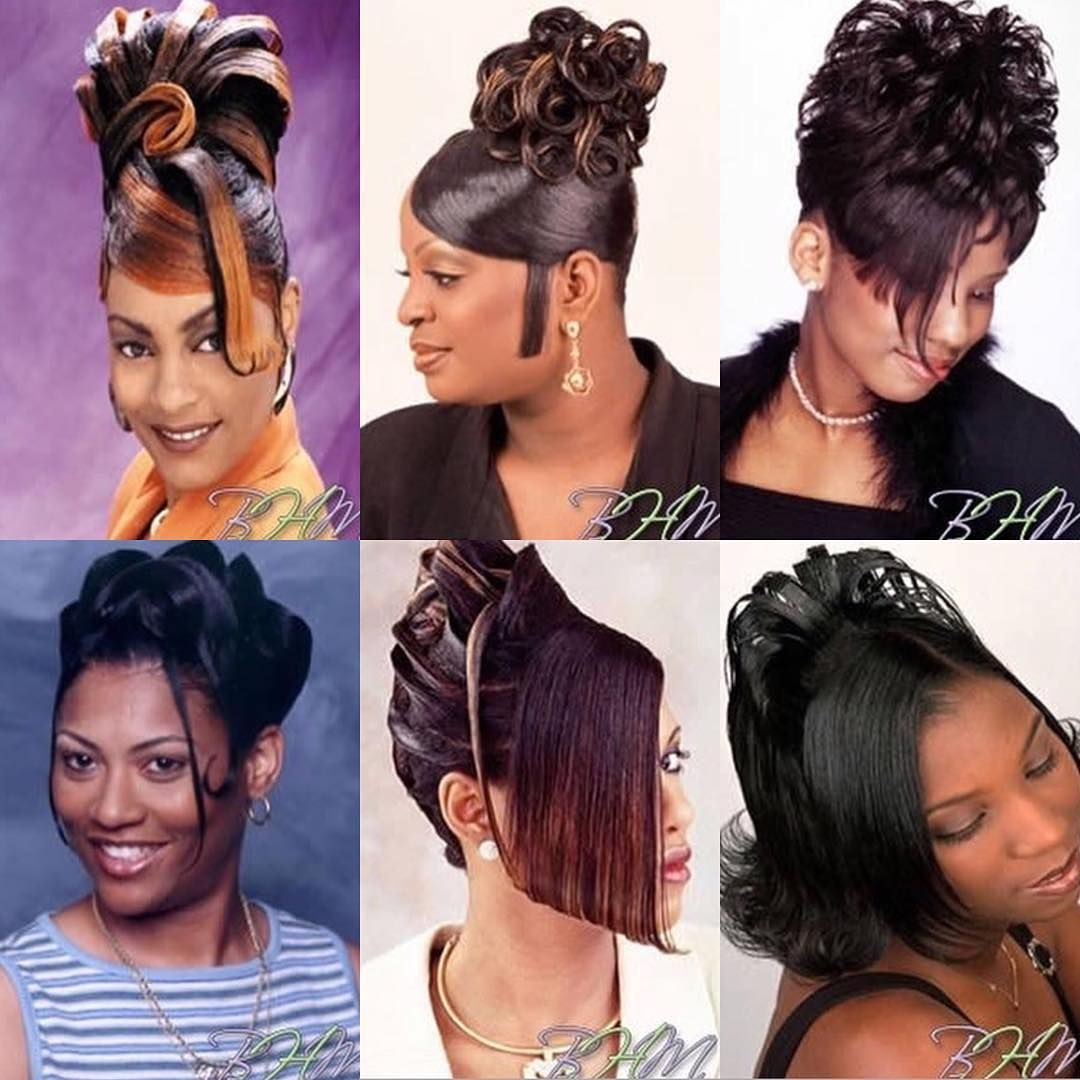 Now Who S Mama Auntie Use To Rock Some Of These Hairstyles Back In The Day Black Hair 90s Hair Styles Black Hair Magazine