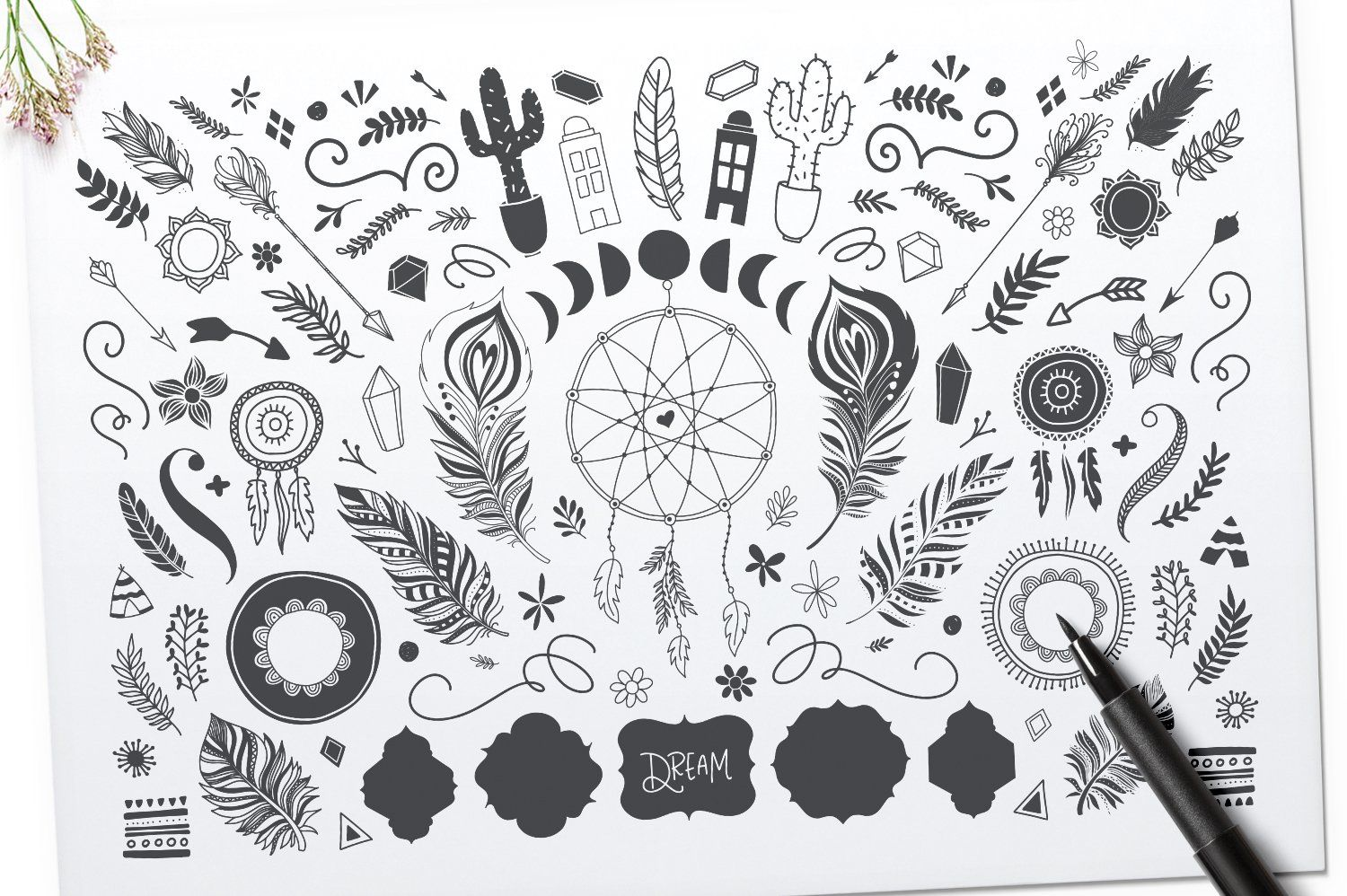 Among The Wildflowers Font Duo Hand illustration, How