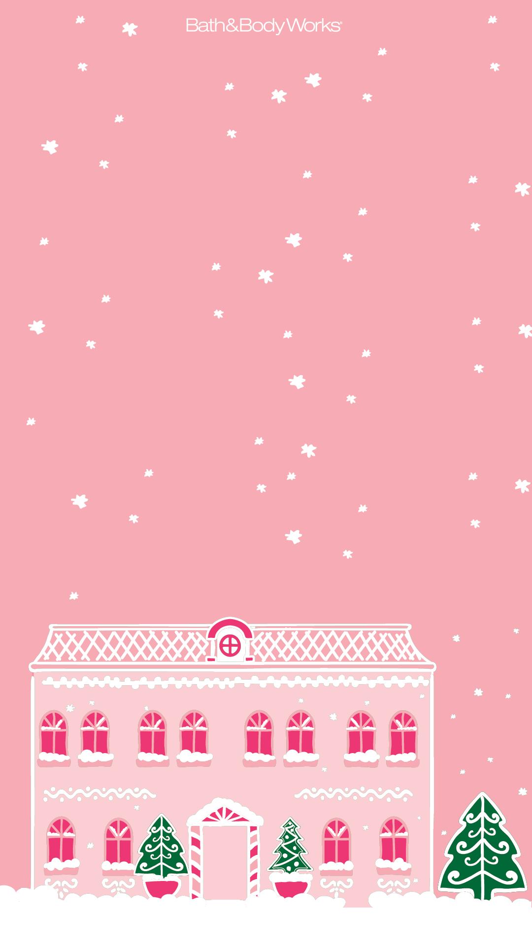 Pink Christmas Mansion Wallpaper Wallpaper Iphone Christmas Christmas Phone Wallpaper Christmas Wallpaper