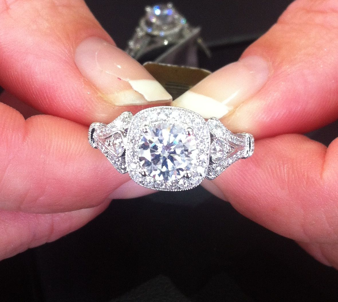 Beautiful vintage diamond ring. Love, minus the chipping polish ...