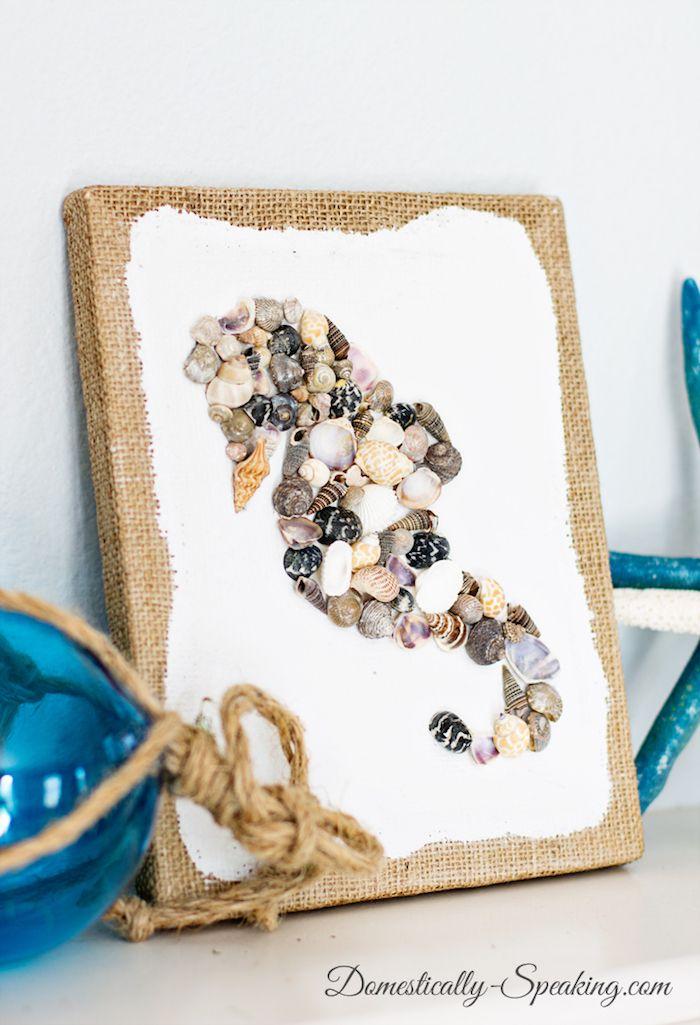 Muschel Bilder, Wanddeko Selber Machen, Leinwand Mit Seepferdchen Aus  Muscheln |  DIY Ideen Für Erwachsene | Pinterest