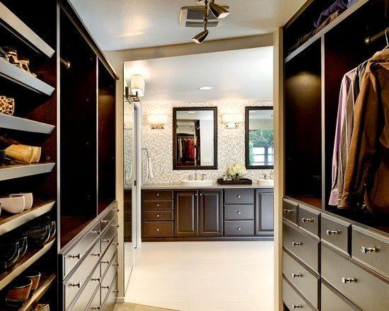 Love the idea of creating a walk through closet space that for Master bathroom designs with walk in closets