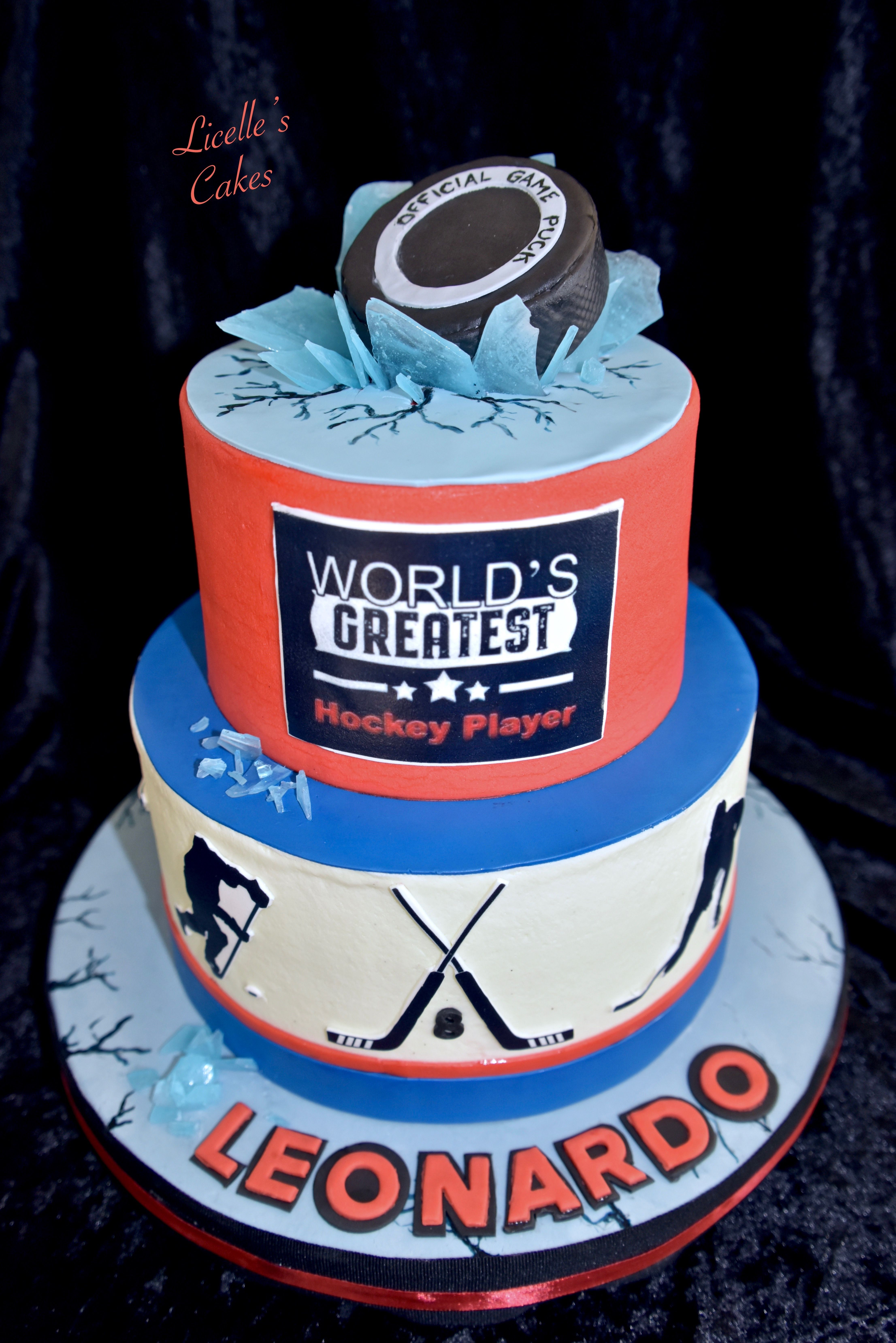 Ice Hockey Cake In Buttercream With Edible Print Images And Fondant Decorations The Puck Is Actual Size Filled With Rice Cri Hockey Cakes Cake Edible Printing