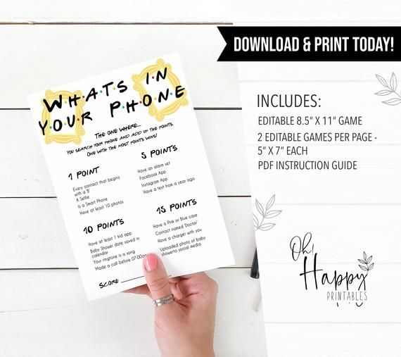 EDITABLE The One Where Whats In Your Phone Baby Game, Printable Baby Games, Baby Shower Games, Whats