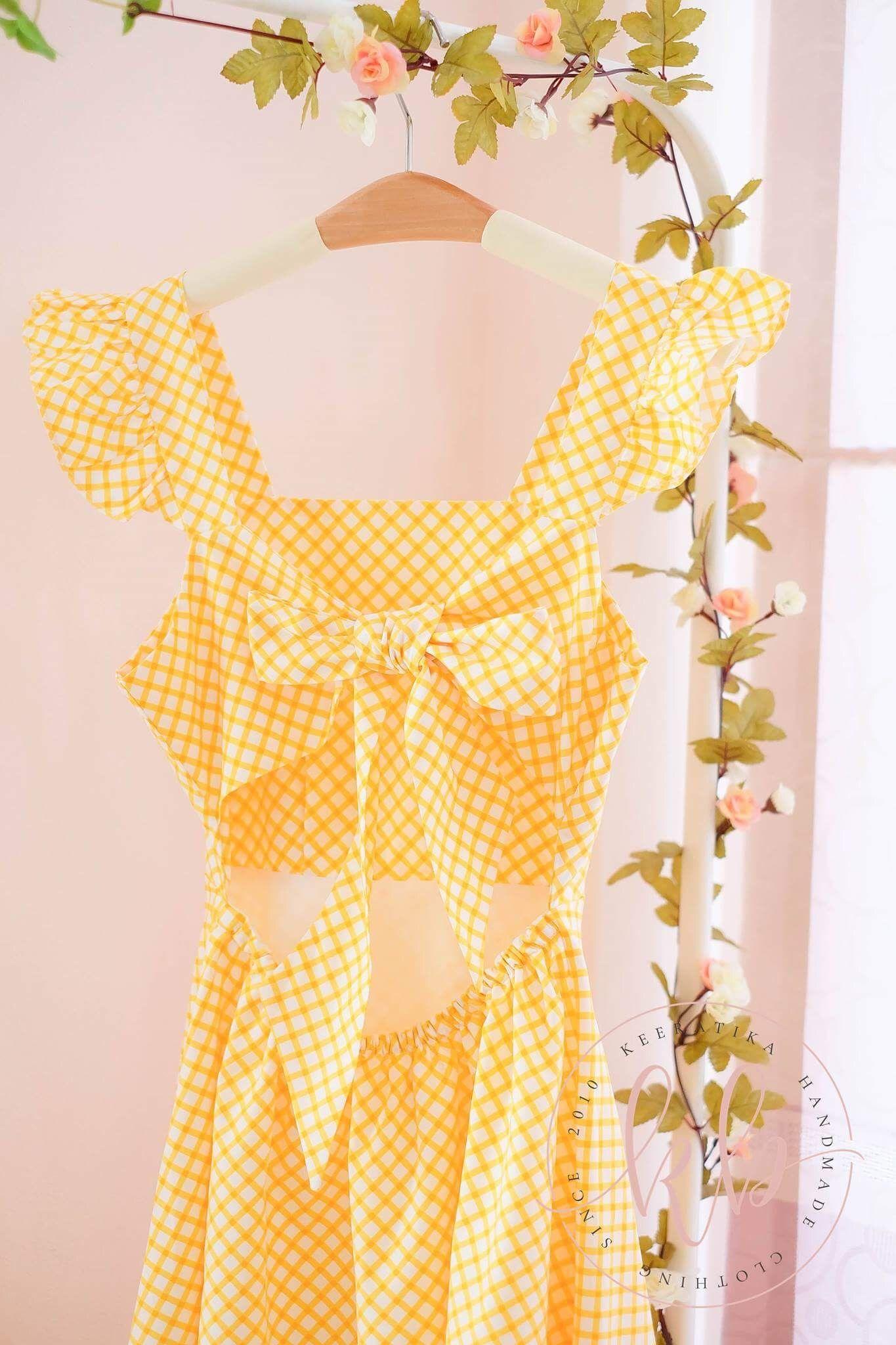 Yellow dresses backless dress bow back bridesmaid dresses plaid ...