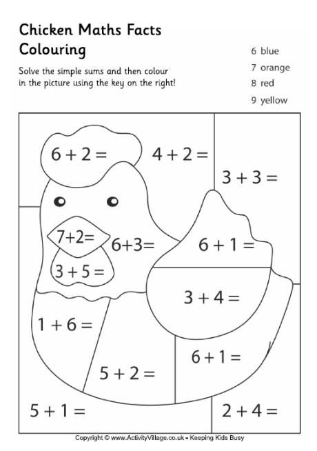 Chicken Maths Facts Colouring Page Math Facts Math For Kids Preschool Math