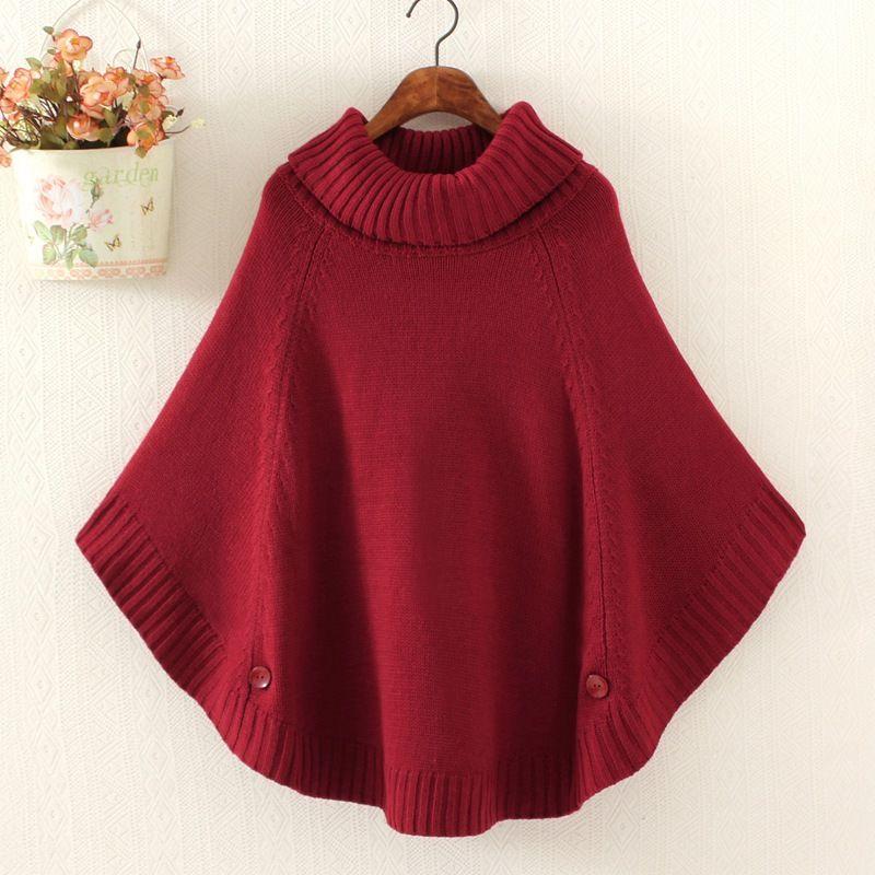 Otoño invierno mujeres Poncho cuello alto suéter coreano de moda más ...