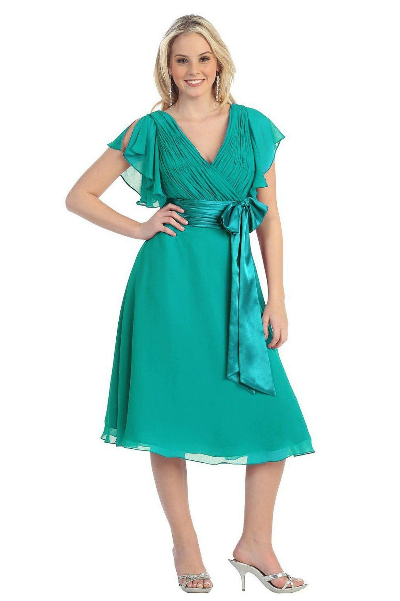 Simply Elegant Short Teal Green Mother of the Bride Dress Plus Size ...