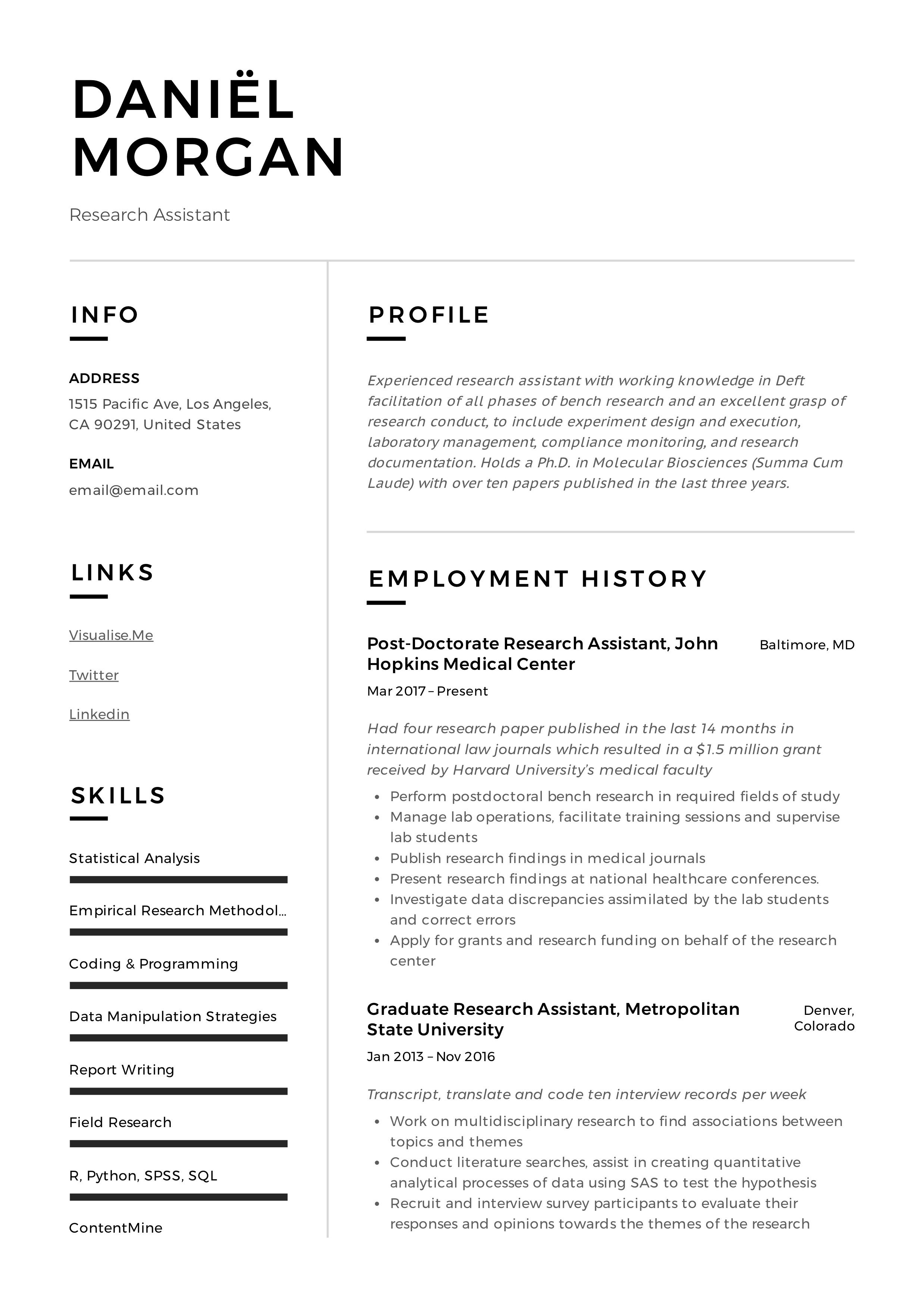 Research Assistant Resume Sample Research Assistant Guided Writing Resume Guide