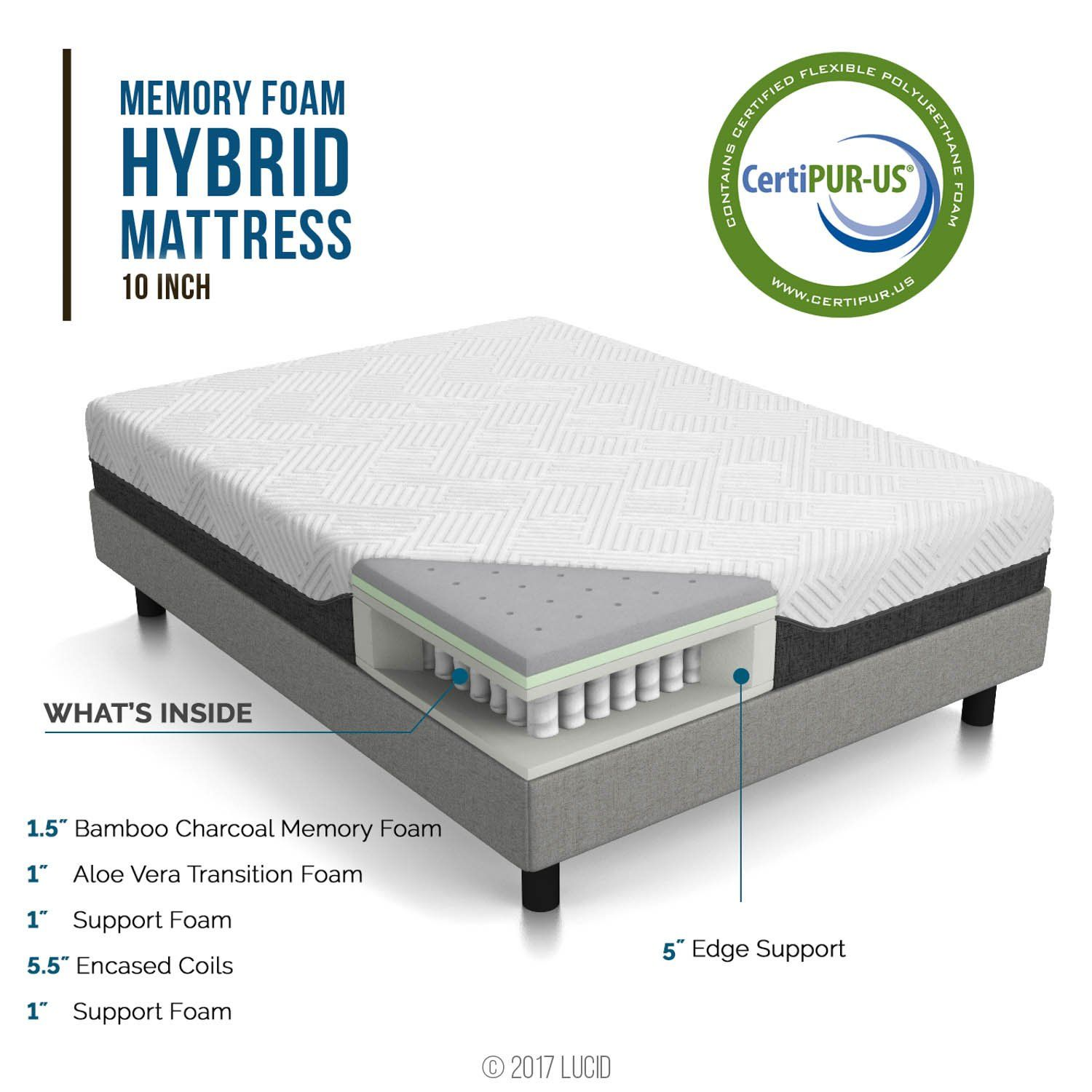 Lucid 10 Inch California King Hybrid Mattress Bamboo Charcoal And Aloe Vera Infused Memory Foam Moisture Wicking Hybrid Mattress Mattress Bamboo Charcoal