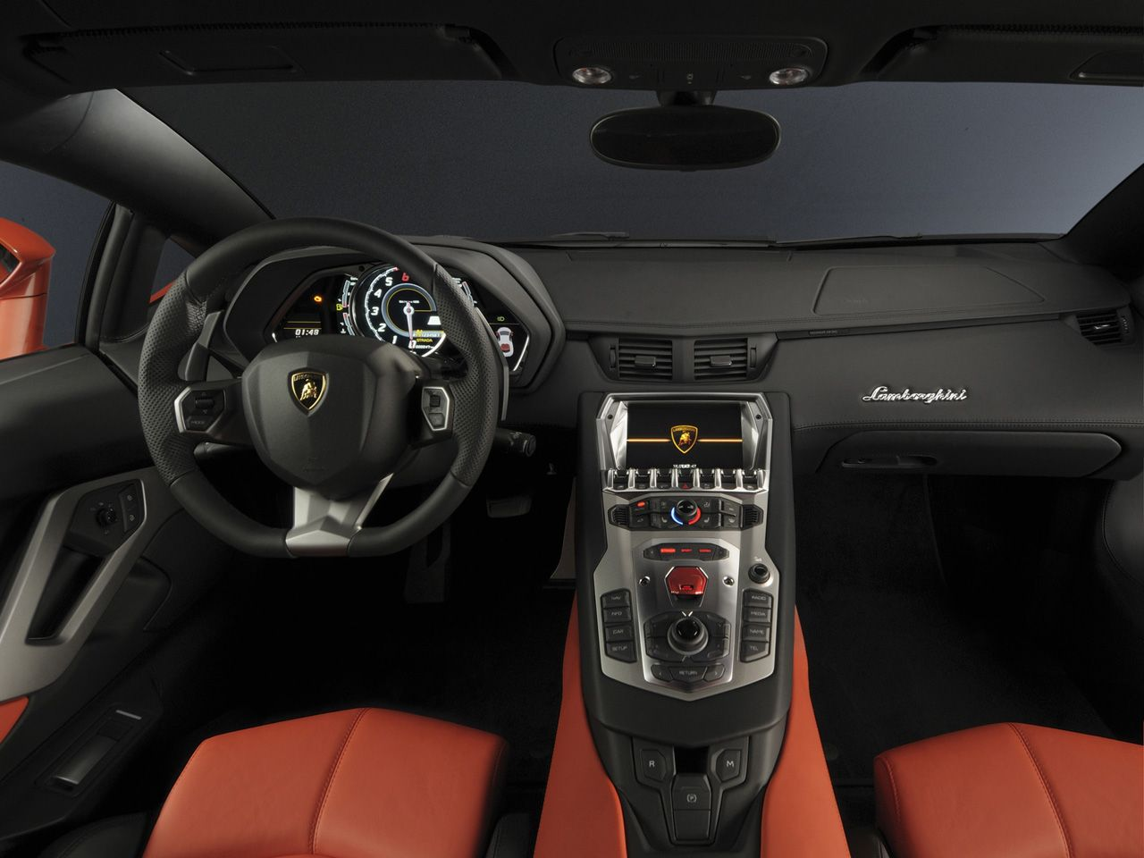 Lamborghini Aventador Lp Black Sport Interior Orange
