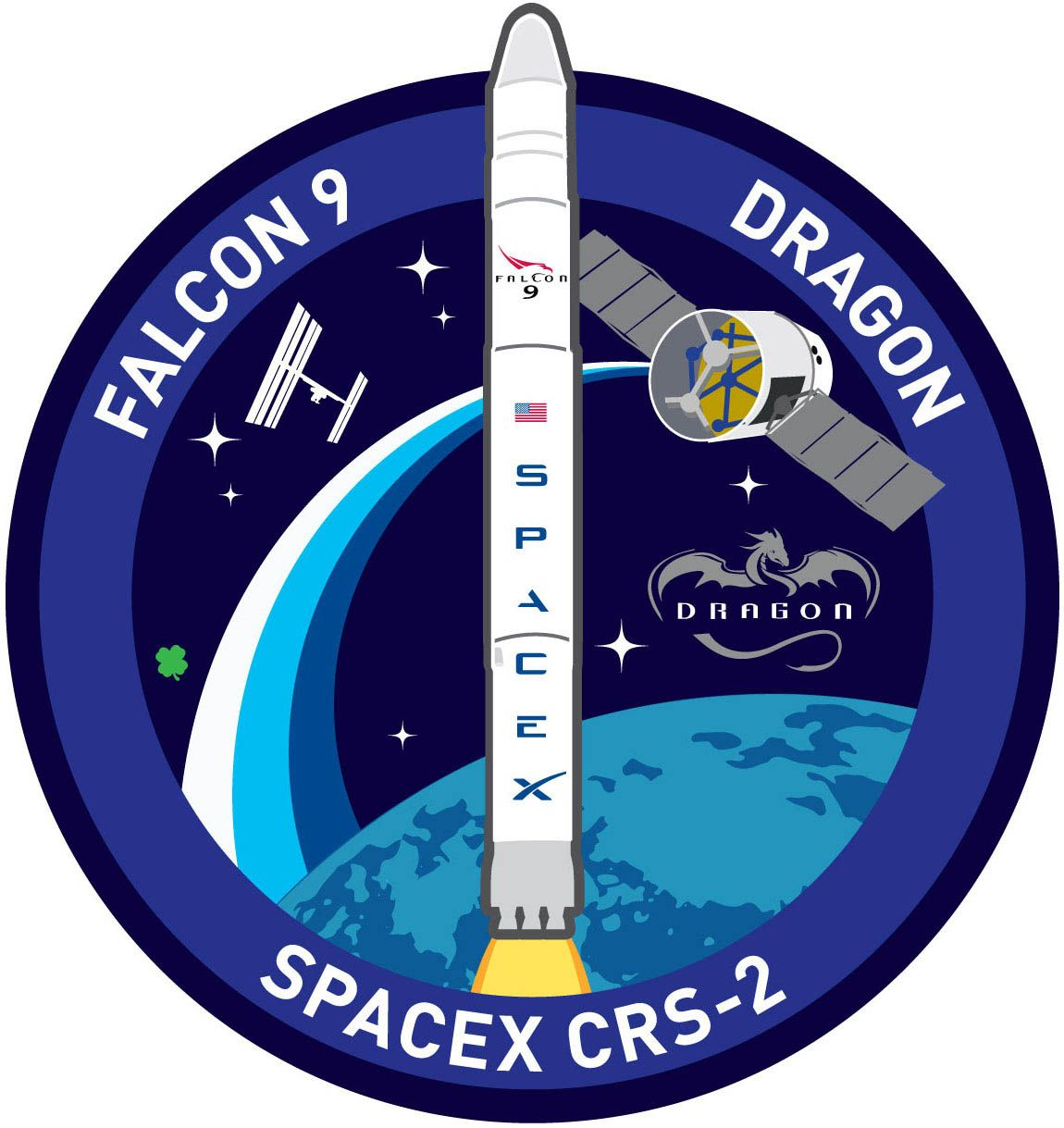 Mission Patches On Mission 4 To The International Space: SpaceX's CRS-2 Mission Patch For The March 2013 Flight To