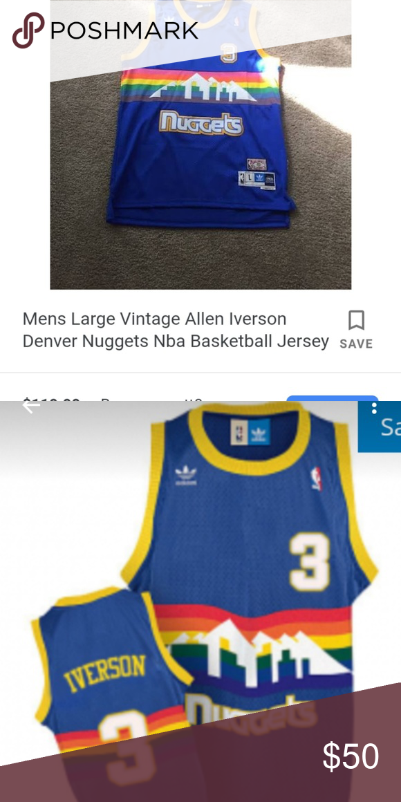 los angeles 352ba 4082d Allen Iverson Denver Nuggets Jersey Classic throwback jersey ...
