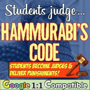 Photo of Hammurabi's Code & Student Judges! Students give punishments! Hammurabi's Code!