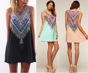 Sukienka Czarna Ornament Boho Aztecka Prosta S 36 5432143932 Oficjalne Archiwum Allegro Fashion Dresses Summer Dresses