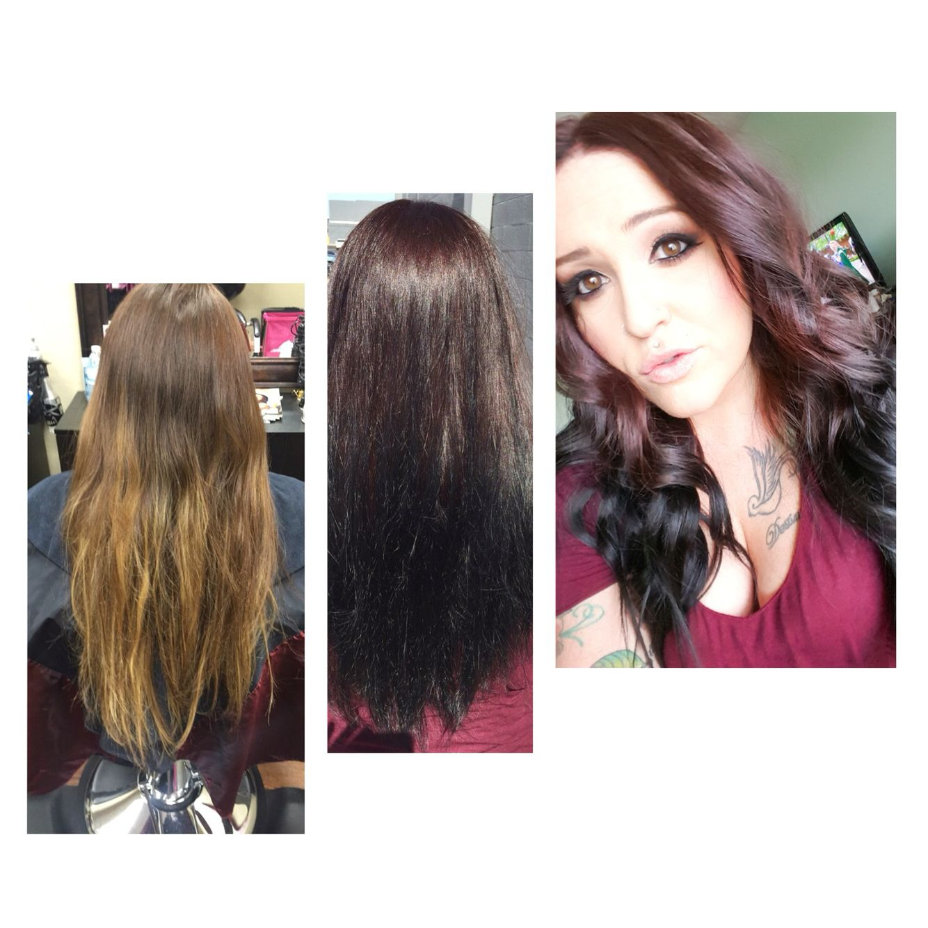 before and afterhilited hair to chocolate brown with black ends
