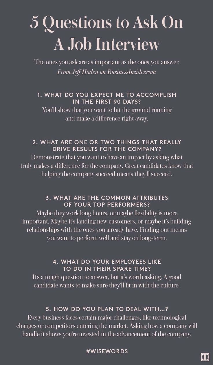 Questions to ask during an interview Job interview