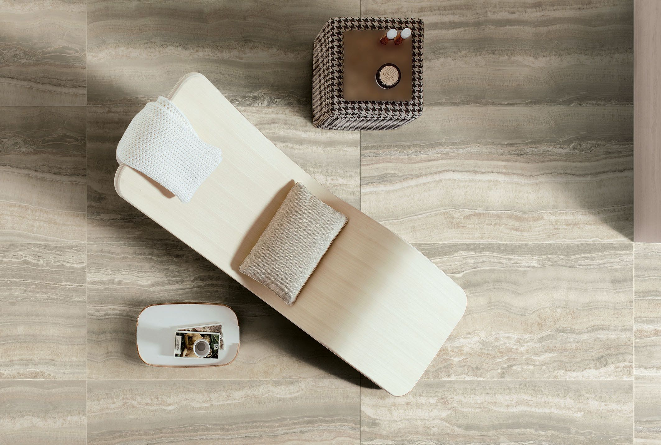 Neutral large format rustic porcelain tile