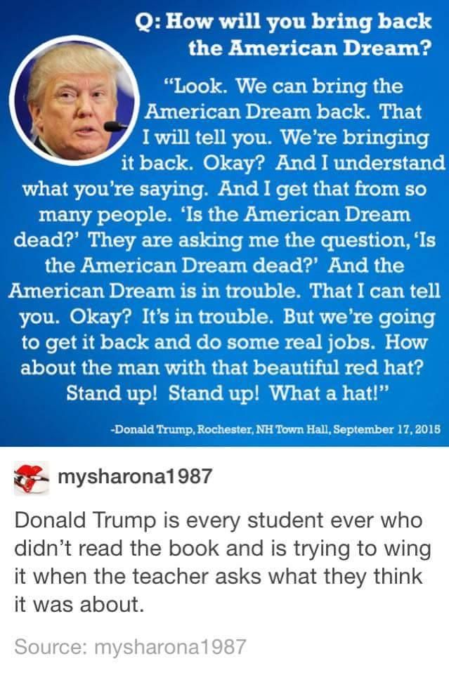 Lots Of Noise No Substance Trump Funny Quotes Tumblr Funny Relatable