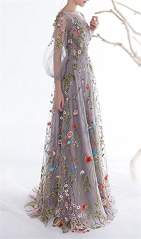 Amazon dobelove womenus long sleeves floral embroidery aline