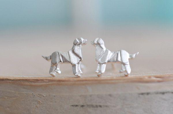 Origami Dog Stud Earrings