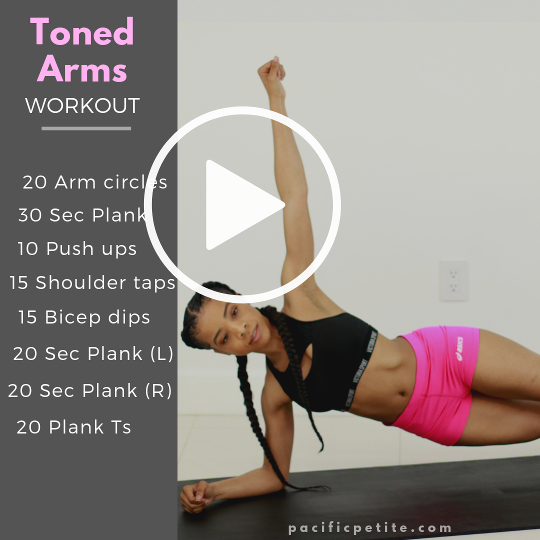 workout plan to get tone arms for women. Arm workout great for beginners to tone the upper body and get rid of flabby arms and bat wings. Get skinny arms after doing this fat burning exercise routine for a 30-Day period. #tonedarms #tonearms #armsworkout #workoutforarms #weightloss #athomeworkout #beginnerarmworkouts