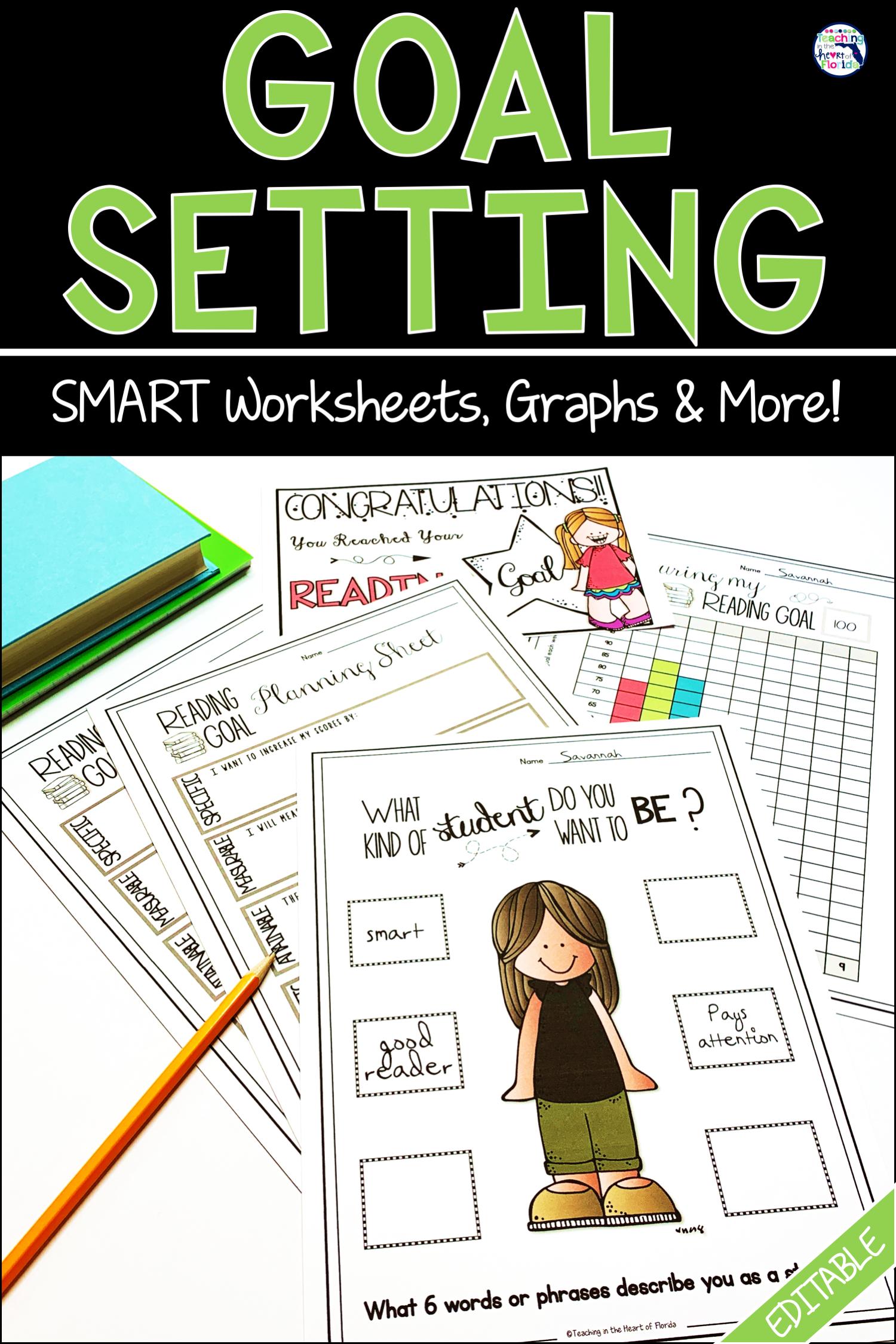 Goal Setting Data Tracking Smart Goals Worksheet Goals Worksheet Social Emotional Learning [ 2249 x 1500 Pixel ]