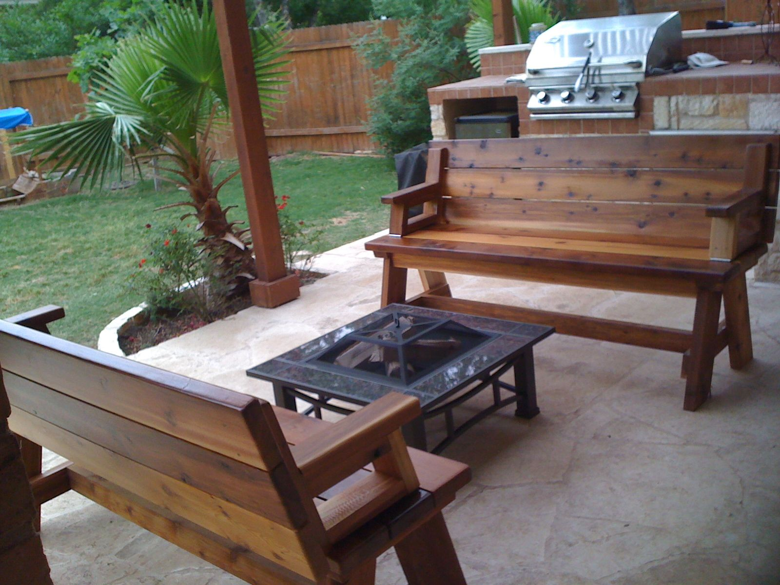 Patio with Fire Pit Bench Ideas