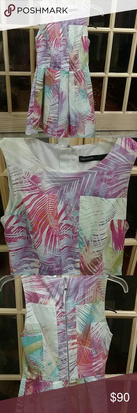 Karen Millen palm tree printed skater dress Multi color, zipper back, perfect for easter Karen Millen Dresses Mini