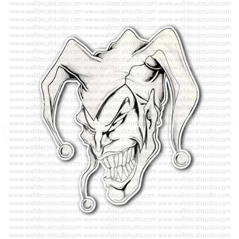 evil jester white clown skull sticker jesters jokers stickers pinterest evil jester. Black Bedroom Furniture Sets. Home Design Ideas
