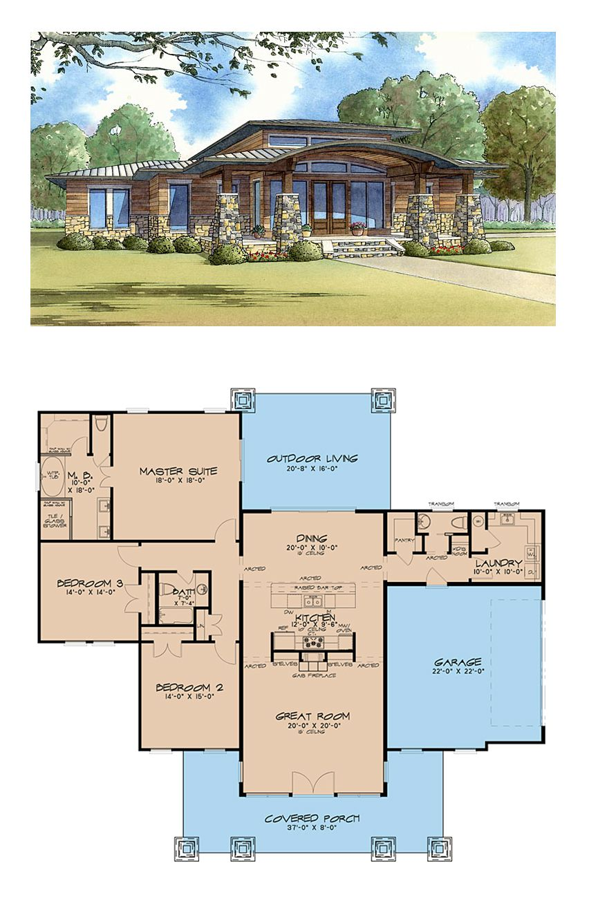 Pin By Hdi 19 On Southwest House With Images: Southwest Style House Plan 82413 With 3 Bed , 3 Bath , 2 Car Garage