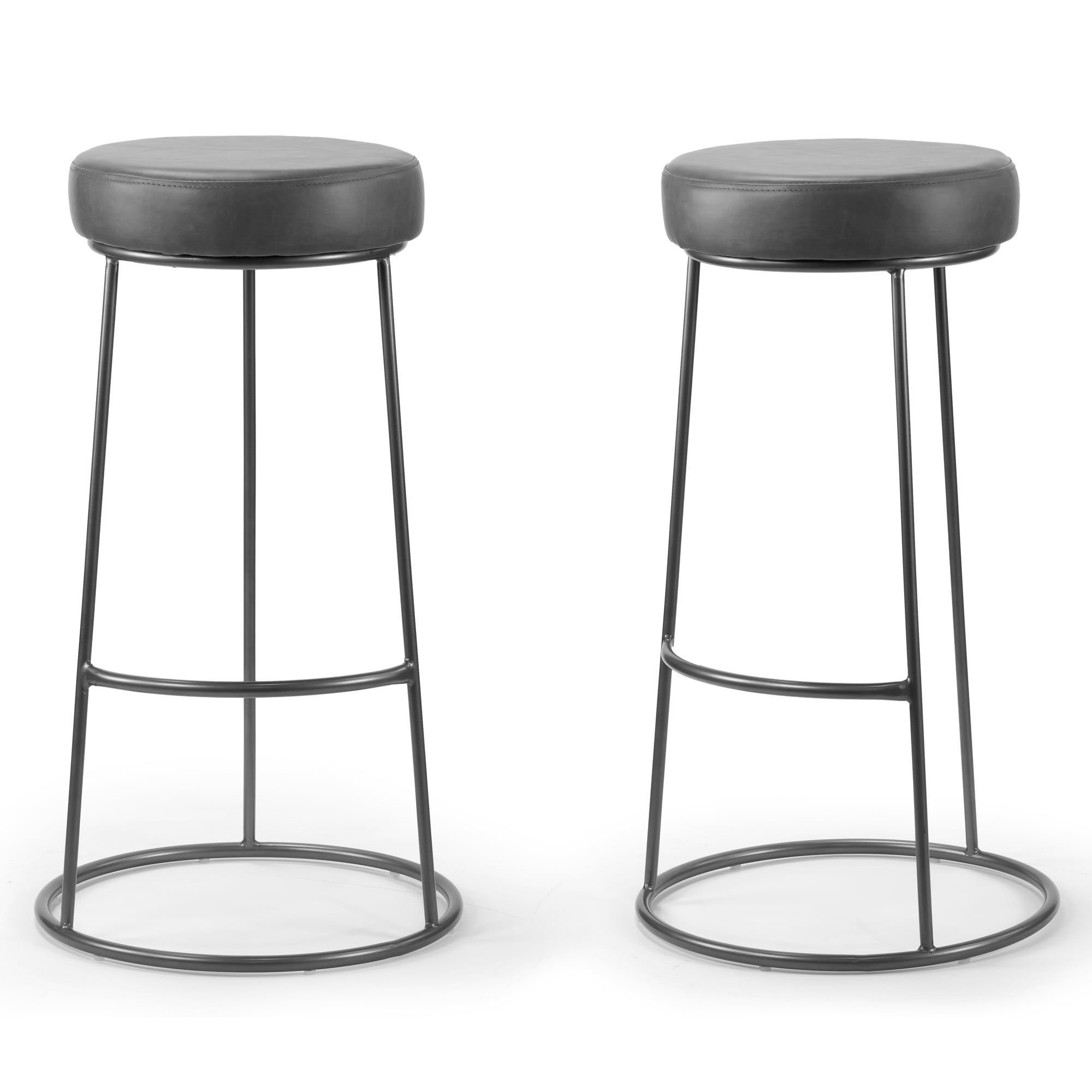 Set Of 2 Amie Grey Backless Bar Stool With Gunmetal Grey Frame Gray Backless Bar Stools Bar Stools Stool