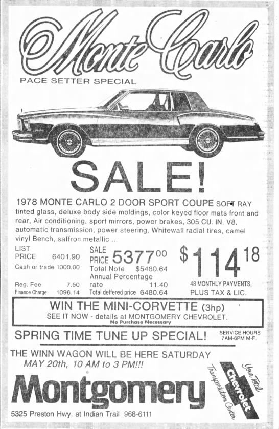 Clipping From The Courier Journal Monte Carlo Chevrolet