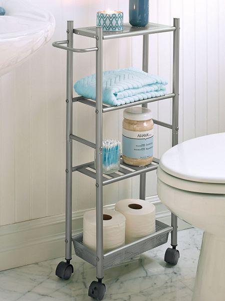 Slim metal cart on wheels rolls with ease ideal for a for Bathroom cart on wheels