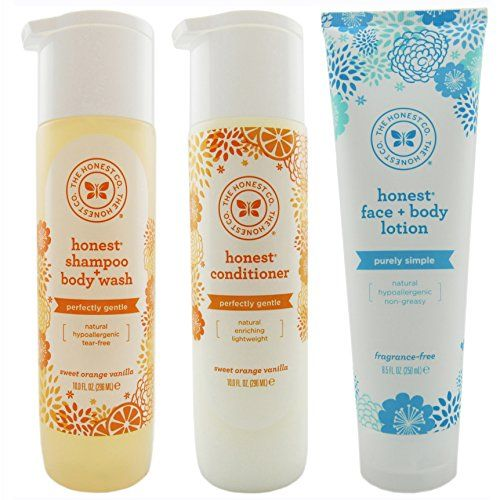 The Honest Company Shampoo Body Wash 10 Ounces  Conditioner 10 Ounces  Face and Body Lotion 85 Ounces Set of 3 *** Read more reviews of the product by visiting the link on the image.(This is an Amazon affiliate link and I receive a commission for the sales)