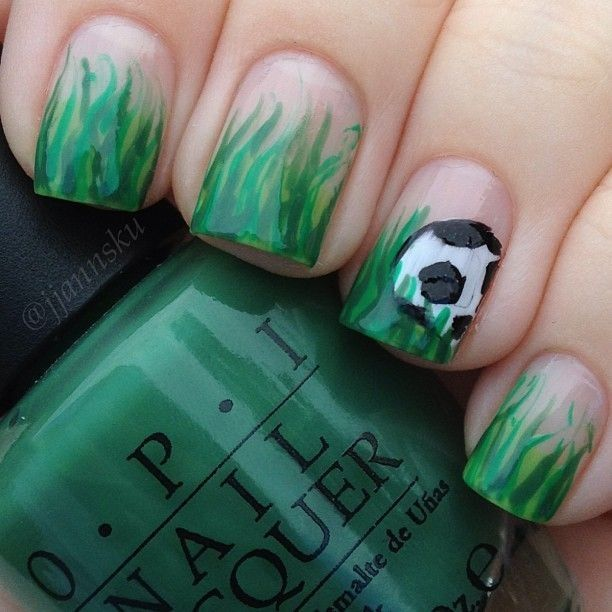 Really cute soccer nails! If I was any good at doing nails I would ...