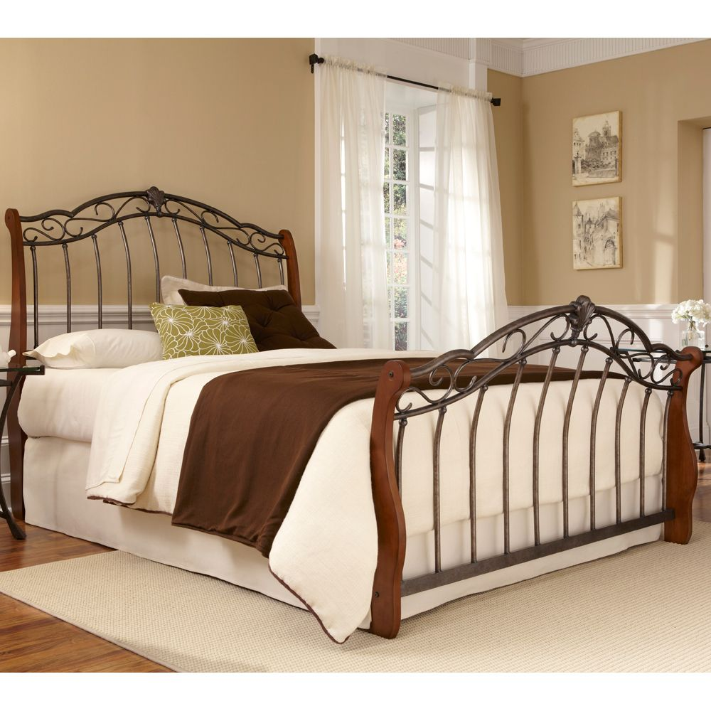 Lucerne Mixed Iron And Wood Bed By Fashion Group Wooden Headboard Only Complete Footboard Frame