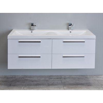 Eviva Surf 57 in Double Sink Bathroom Vanity Set - EVVN144-57BW