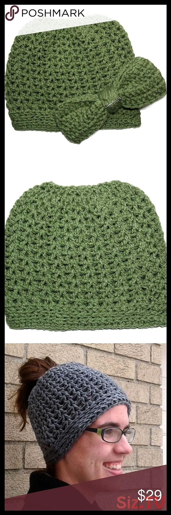 Green Messy Bun Hat w ClipOn Bow MADE TO ORDER A new and fun trend the Messy Bun Hat This cool design will keep your head warm while allowing yoGreen Messy Bun Hat w Clip...