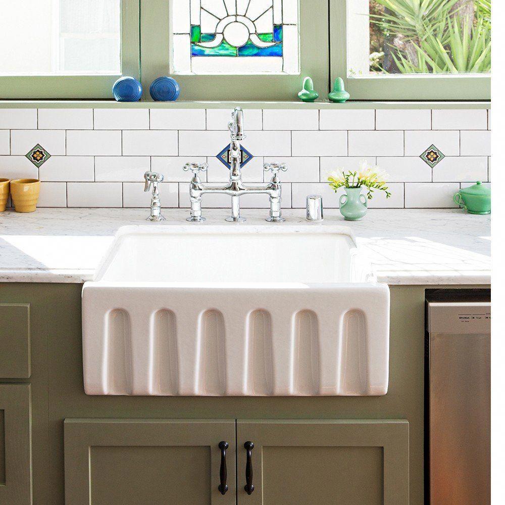 24 X 18 Fluted Fireclay Reversible Apron Farmhouse Sink White In 2021 Farmhouse Sink Farmhouse Sink Kitchen Farmhouse Apron Sink