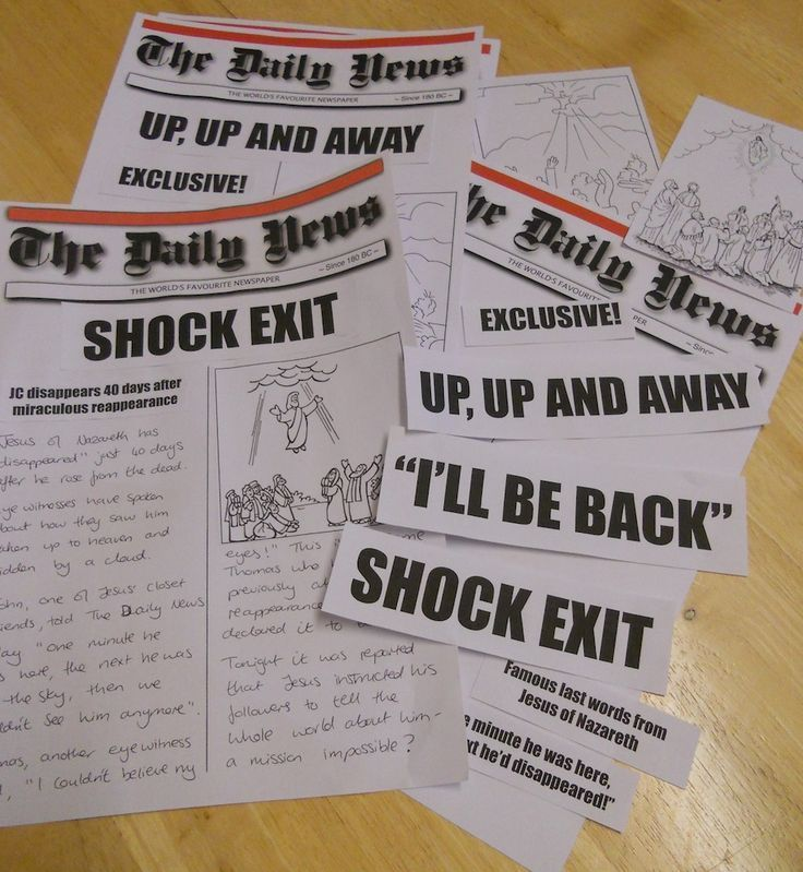 Ascension Day Activity for older kids After telling the story we - newspaper headline template