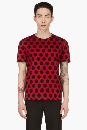 Burberry Prorsum Red Black Polka Dot T Shirt For Men Fashion