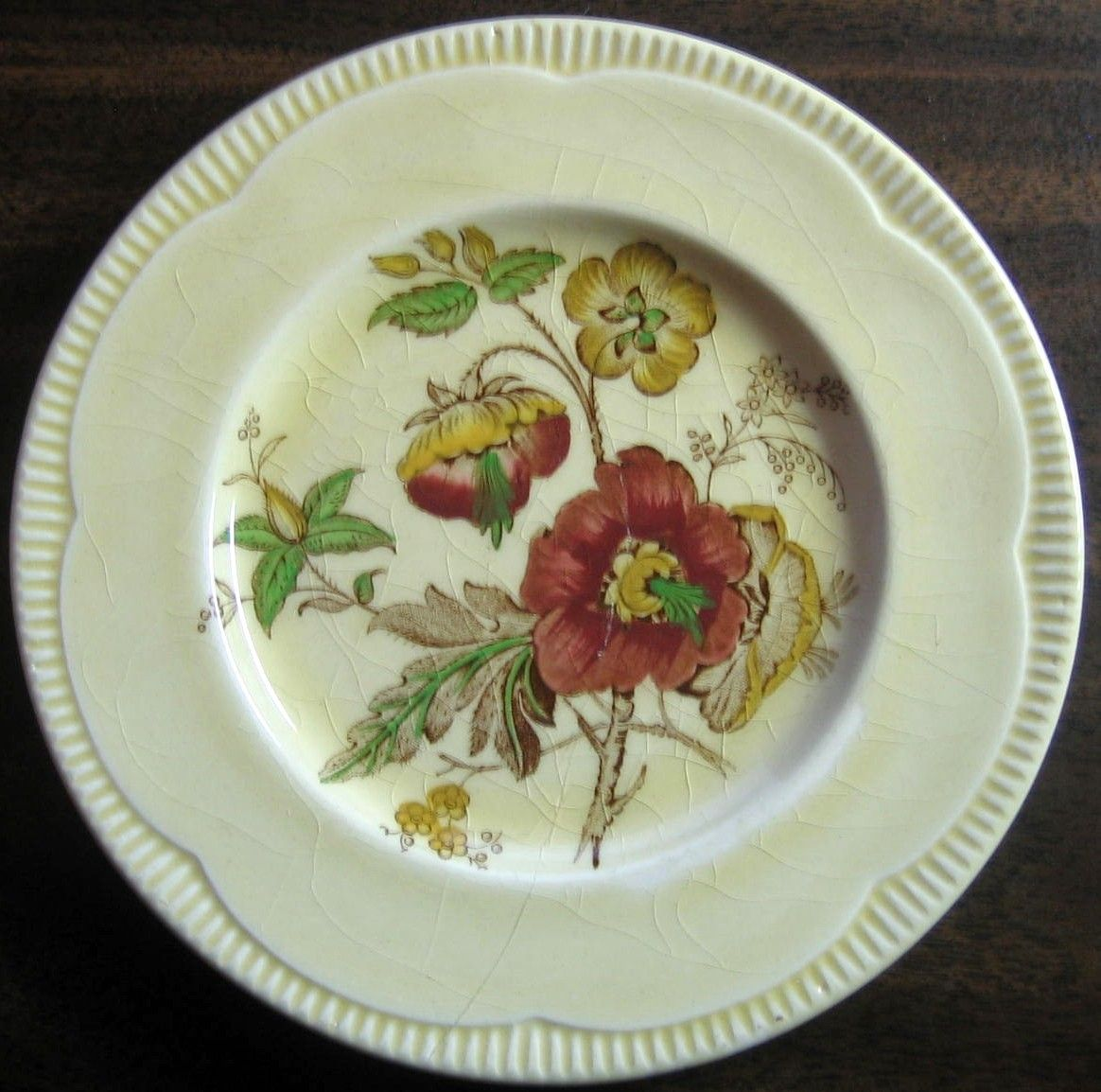 1940u0027s Exotic Poppy Burgandy Green Gold Scalloped Plate S & 1940u0027s Exotic Poppy Burgandy Green Gold Scalloped Plate S | Dinnerware
