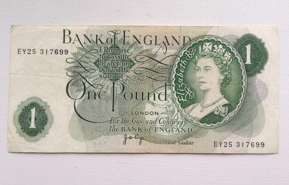 British One Pound Note Bank Of England Currency Queen Elizabeth 1 Cash