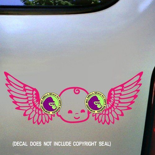 """Wings Baby Vinyl Decal Sticker 3. Decal measures 9""""x3.5"""" in vinyl with a baby and wings."""