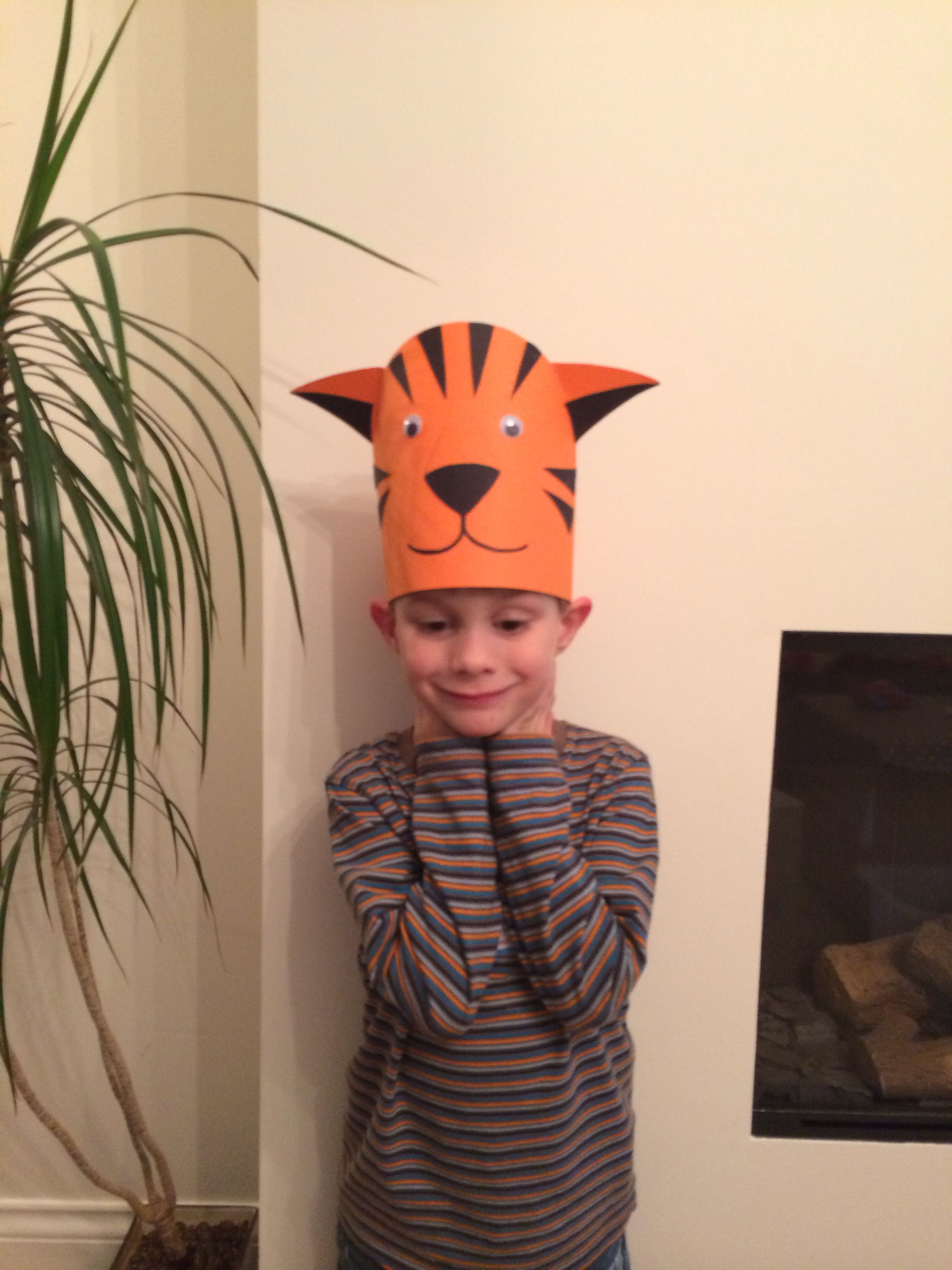 Kids Tiger Hat Made Out Of Paper And Card Hat Crafts