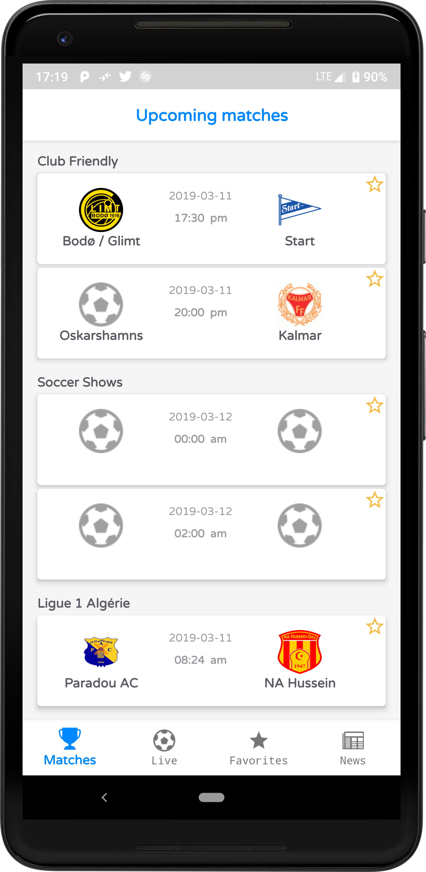 Livescore Football Android Full App Admob Upcoming Matches