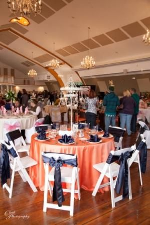 Coral Tablecloth With Navy Blue Napkins And Sashes