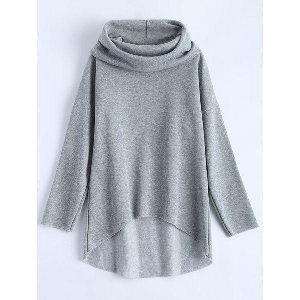 High Low Cowl Neck Sweatshirt (€15) ❤ liked on Polyvore featuring tops, hoodies, sweatshirts, blue top, blue sweatshirt, cowl neck tops, cowlneck top and cowl neck sweatshirt